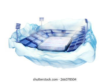 3d illustration of section of iceberg island with hockey stadium with light towers isolated on white