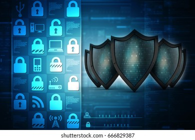 3d illustration Security concept - shield on digital code background