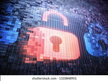 3D illustration. Security padlock being broken for unauthorized access by computer hackers. LED screen being destroyed pixel by pixel.