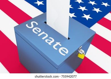 """3D illustration of """"Senate"""" script on a ballot box, with US flag as a background."""