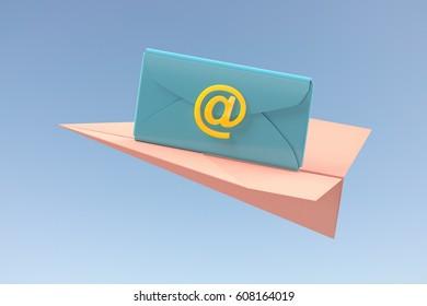 3d illustration of sending mail
