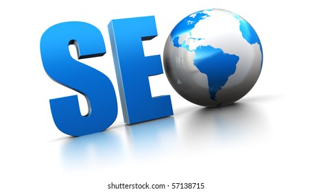 3d illustration of seo text with earth globe, search engine optimization concept