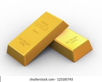 3d illustration of set OF fine gold bars