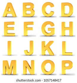 3D illustration set of golden alphabet letters from A to P over white background with clipping path for each letter for fast and accurate isolation.