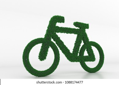 3D Illustration, Shape of a Bicycle with Grass