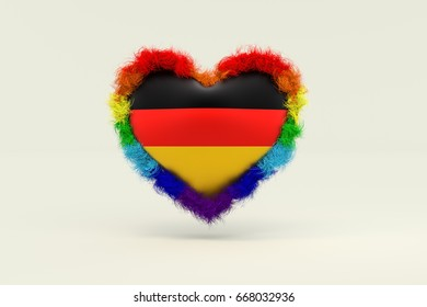 3d illustration, Shape of Heart in Rainbow Color against discrimination in Germany