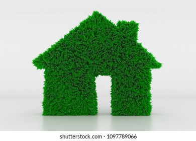 3D Illustration, Shape of a House Sign with green Grass