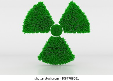 3D Illustration, Shape of a Radioactive Sign with green Grass