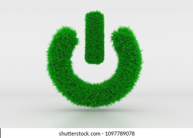 3D Illustration, Shape of a Standby Sign with green Grass