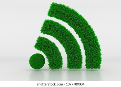 3D Illustration, Shape of a Wifi Sign with green Grass
