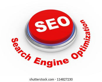3d illustration of shiny seo (search engine optimization) button