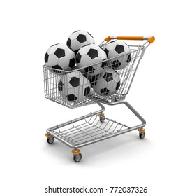 3d illustration. Shopping Cart with footballs. Image with clipping path