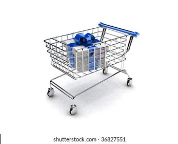 3d illustration of shopping cart with gift