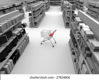 3d illustration of a shopping cart in the middle of a store aisle
