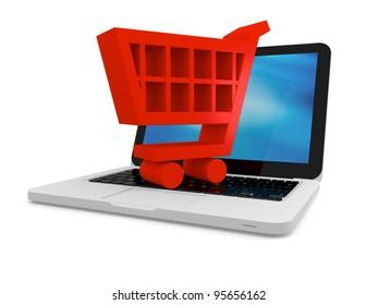3D illustration of shopping cart symbol on a laptop