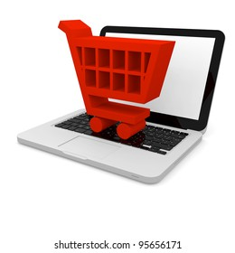 3D illustration of shopping trolley symbol on a laptop