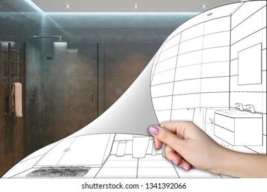 3d illustration. A shower room renovation concept
