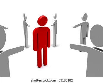 3d illustration showing a person being bullied