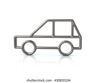 3d illustration of silver compact car isolated on white background