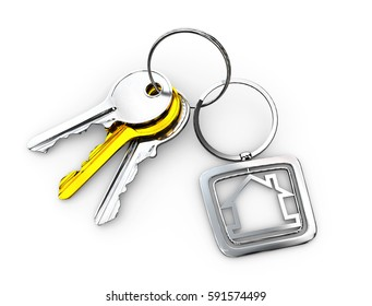 3d Illustration of silver and gold Door keys