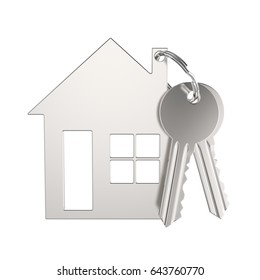 3D illustration silver gold key with keychain in the form of a small house on a grey background