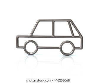 3d illustration of silver hatchback car icon isolated on white background