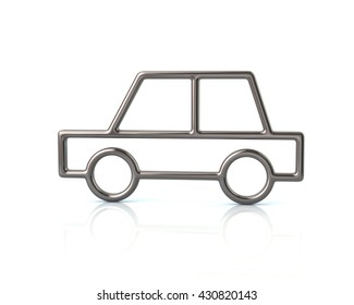 3d illustration of silver sedan car icon isolated on white background