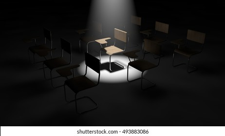 3d illustration of simple classroom chairs. one chair under light.