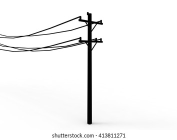 3d illustration of simple electric pole with wires. low poly style. simple to use. on white background isolated with shadow.