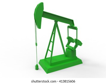 3d illustration of simple oil derrick. low poly style. icon for game or web. simple to use. on white background isolated with shadow.