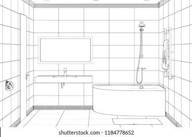 3d illustration. Sketch of modern bathroom interior