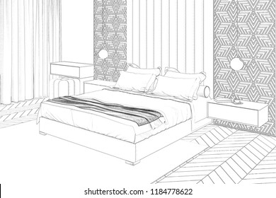 3d illustration. Sketch of modern bedroom interior