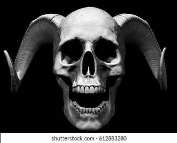 3D illustration of a skull with horns and open mouth in black background