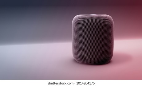 3D illustration of smart speaker with voice activation or personal assistant functions. Clean modern design.