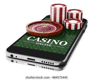 3d Illustration. Smartphone with coins and roulette. Online casino concept. Isolated white background.
