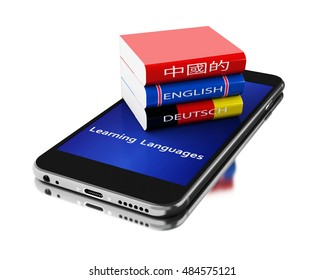 3d Illustration. Smartphone with textbooks. Learning languages. Isolated white background.