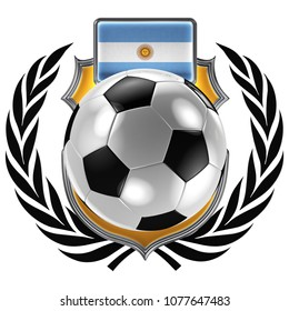 3D illustration of a soccer crest with the Argentinian flag and a soccer ball