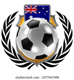 3D illustration of a soccer crest with the Australian flag and a soccer ball