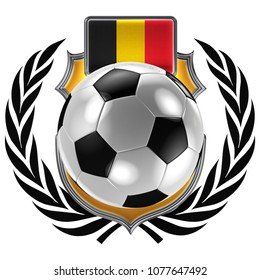 3D illustration of a soccer crest with the Belgian flag and a soccer ball