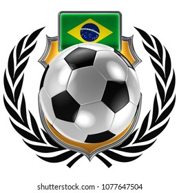 3D illustration of a soccer crest with the Brazilian flag and a soccer ball
