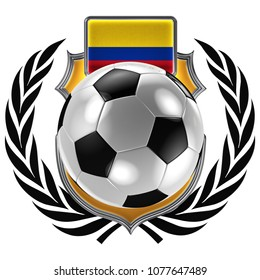 3D illustration of a soccer crest with the Colombian flag and a soccer ball