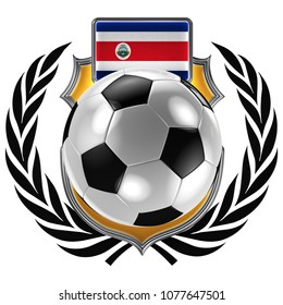 3D illustration of a soccer crest with the Costa Rica flag and a soccer ball