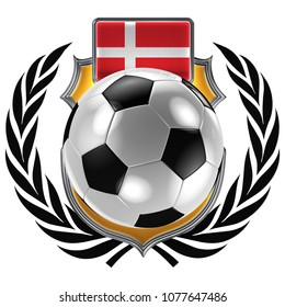 3D illustration of a soccer crest with the Danish flag and a soccer ball