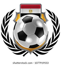 3D illustration of a soccer crest with the Egyptian flag and a soccer ball