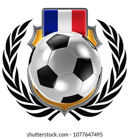 3D illustration of a soccer crest with the French flag and a soccer ball