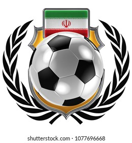 3D illustration of a soccer crest with the Iranian flag and a soccer ball