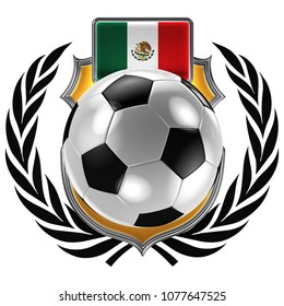 3D illustration of a soccer crest with the Mexican flag and a soccer ball