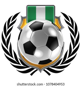 3D illustration of a soccer crest with the Nigerian flag and a soccer ball