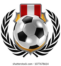 3D illustration of a soccer crest with the Peruvian flag and a soccer ball