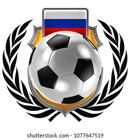 3D illustration of a soccer crest with the Russian flag and a soccer ball